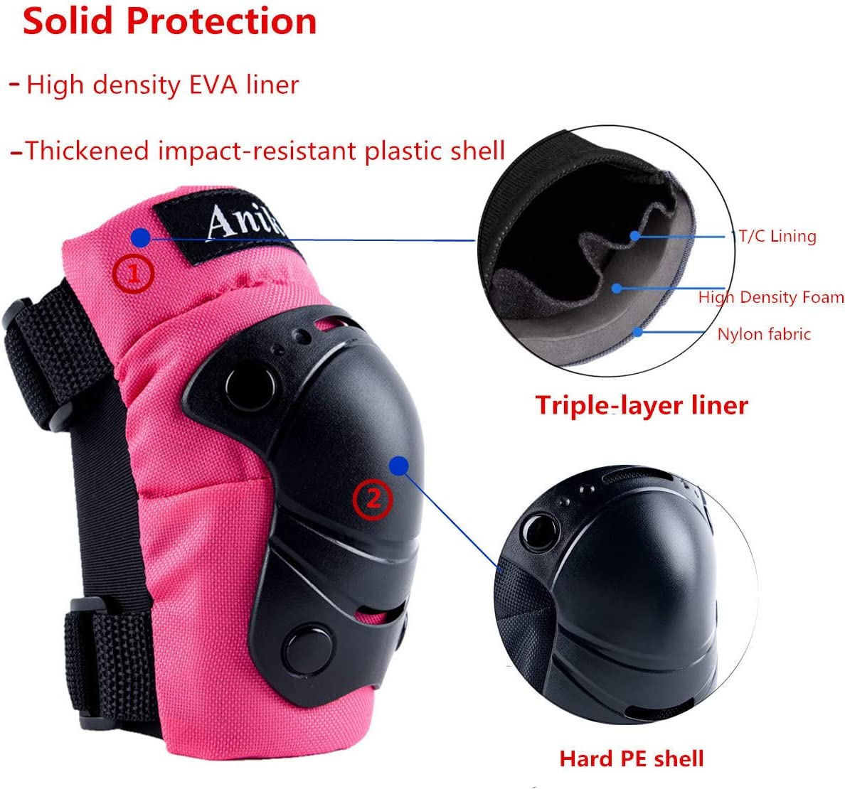 Kids Protective Gear, Knee Pads Elbow Pads Wrist Guards 3 in 1 Set for Inline Roller Skating Biking Cycling Sports Safe Guard : Sports & Outdoors