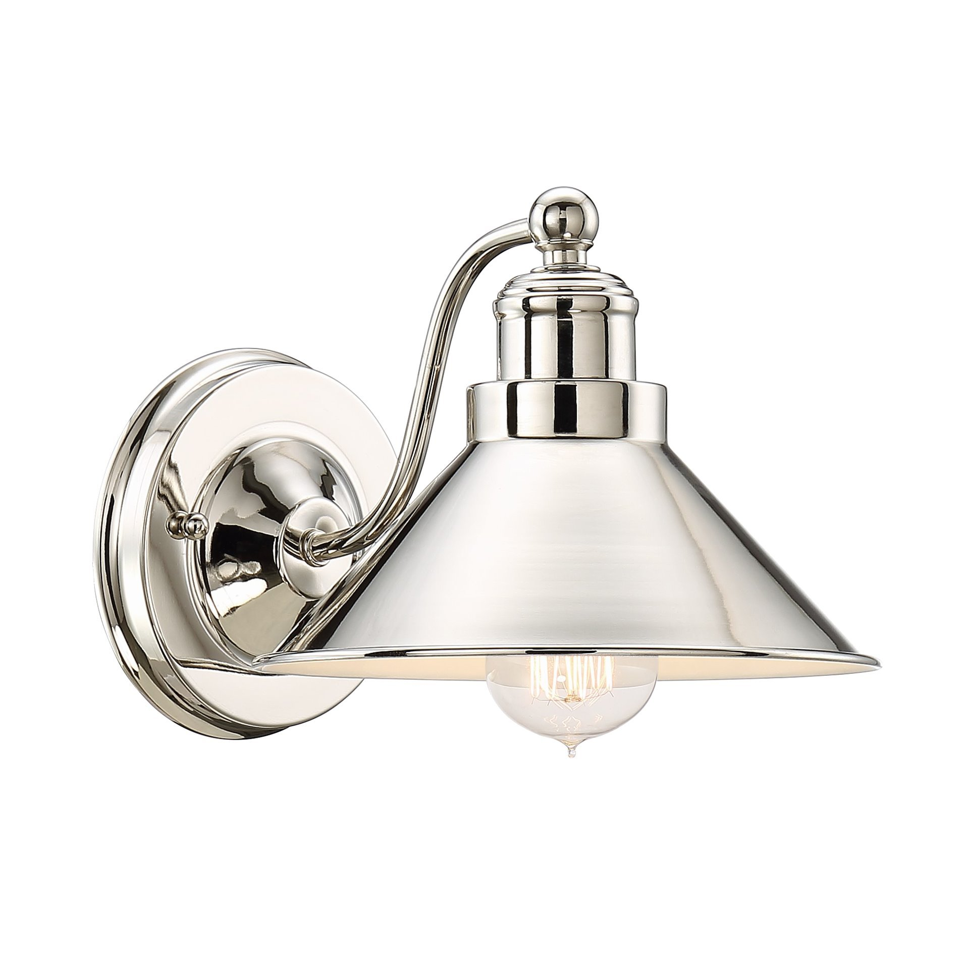 Kira Home Welton 8.5'' Modern Industrial Wall Sconce, Polished Nickel Finish