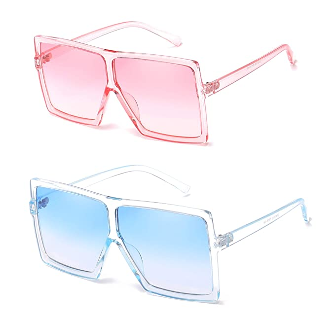 2ab3f50fc260d MAOLEN Oversized Square Polarized Sunglasses for Women Men Flat Top Shades  Sunglasses (2 Pack Pink