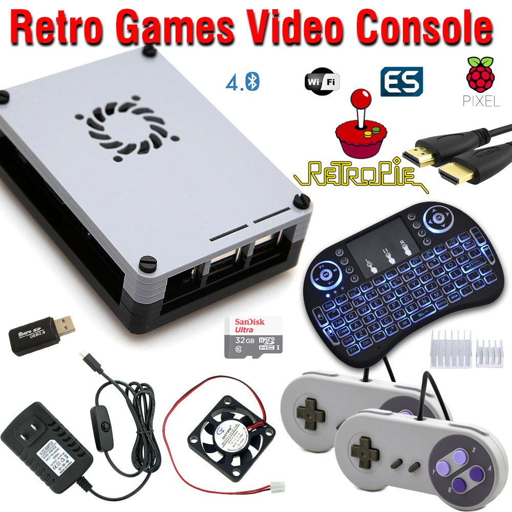 RetroBox - Raspberry Pi 3 Based Retro Game Console, RetroPie 32GB Edition with Heatsinks and Cooling Fan Installed, Combo with Backlit Wireless Keyboard/Mouse
