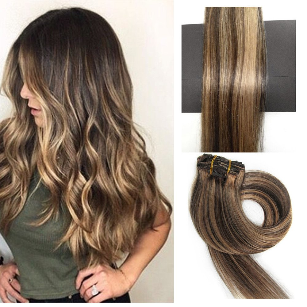 Amazon clip in hair extensions human hair extensions clip on thefashionway brazilian human hair extensions clip in silky straight weft remy hair 15 inches pmusecretfo Image collections