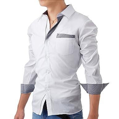 フェアリーストーン ドレスシャツ メンズ 長袖 スリム フィット ストライプ 柄 カッターシャツ ワイシャツ カジュアル フォーマル S