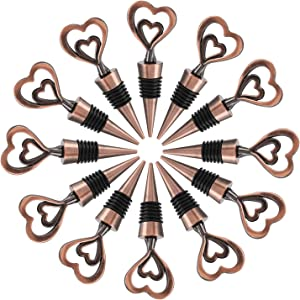 12PCS Valentine's Day Wedding Favors for Guests,Zinc Alloy Decorative Double Heart Wine and Beverage Bottle Stoppers Caps Reusable Plug Keep Wine Fresh(Bronze Heart, 12)