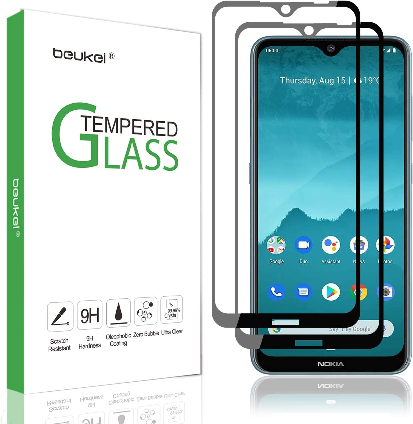 (2 Pack) Beukei for Nokia 6.2 and Nokia 7.2 Screen Protector Tempered Glass Screen Protector Tempered Glass,Full Screen Coverage, Anti Scratch, Bubble