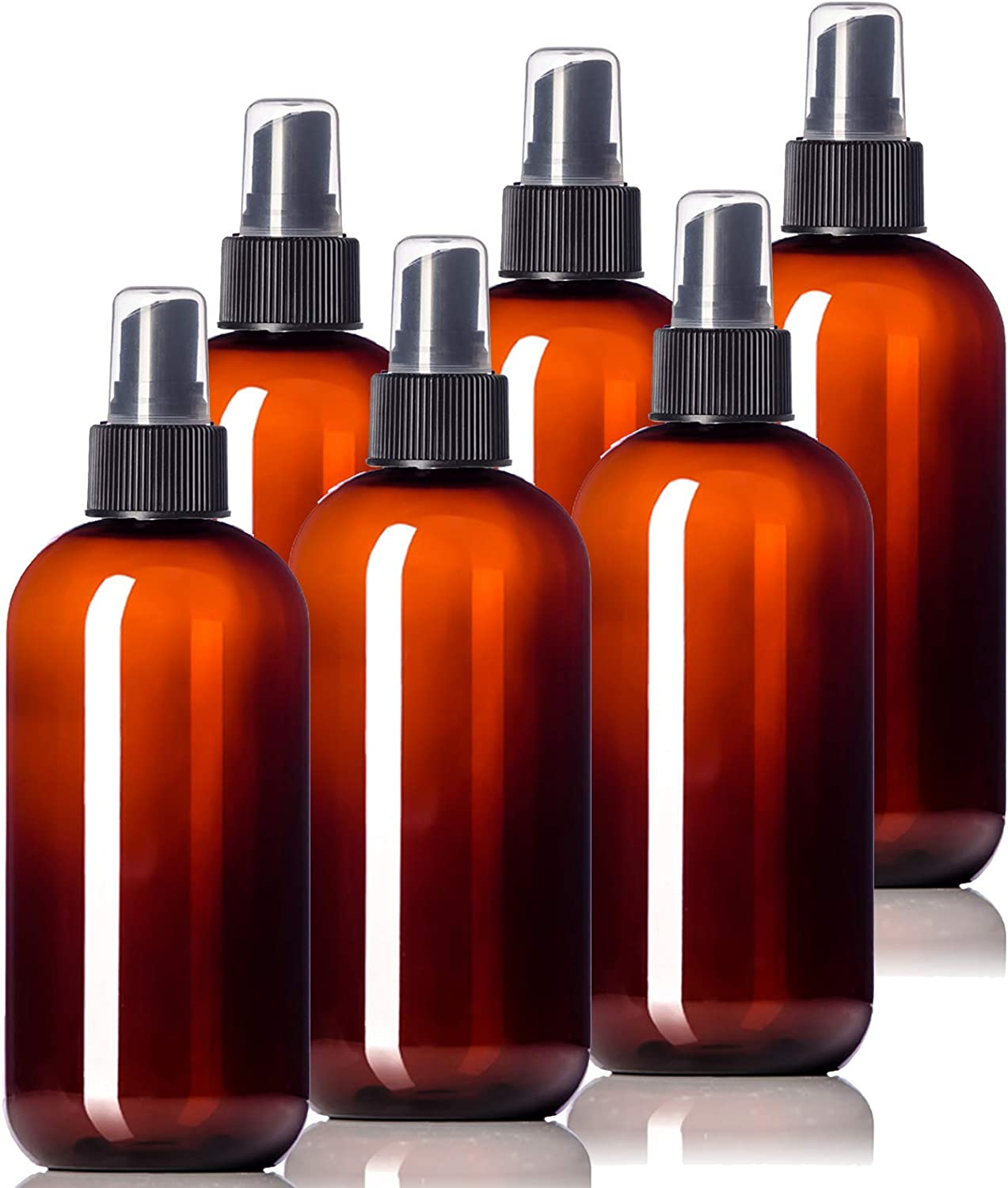 8oz Plastic Amber Bottles (6 Pack) BPA-Free Squeeze Containers with Spray Cap, Labels Included