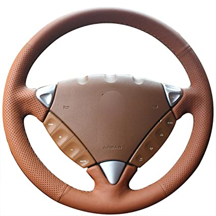 JI Loncky Cayenne Brown Genuine Leather Auto Custom Steering Wheel Covers for Porsche Cayenne S 2003