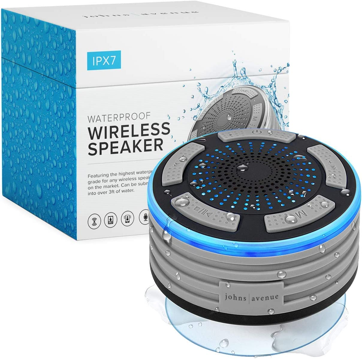 Bluetooth Shower Speaker by Johns Avenue. Waterproof – Wireless – Portable Speaker with Strong Suction Cup and LED Mood Lights
