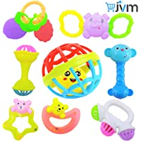 Rattles and Teether for Babies, Set of 8 Pcs - Colorful Lovely Attractive Rattles and Teether for Babies, Toddlers, Infants & Children