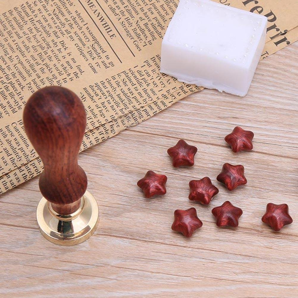 Double Heart VKTECH Retro Wood Stamp Sample Sealing Wax Antique Stamp with Beech Handle for Important Documents
