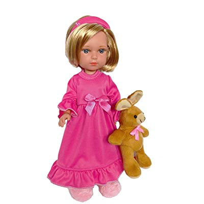 Brittany's Pink Nightgown with Sleepmask and Bunny Rabbit Compatible with Wellie Wisher Dolls: Toys & Games