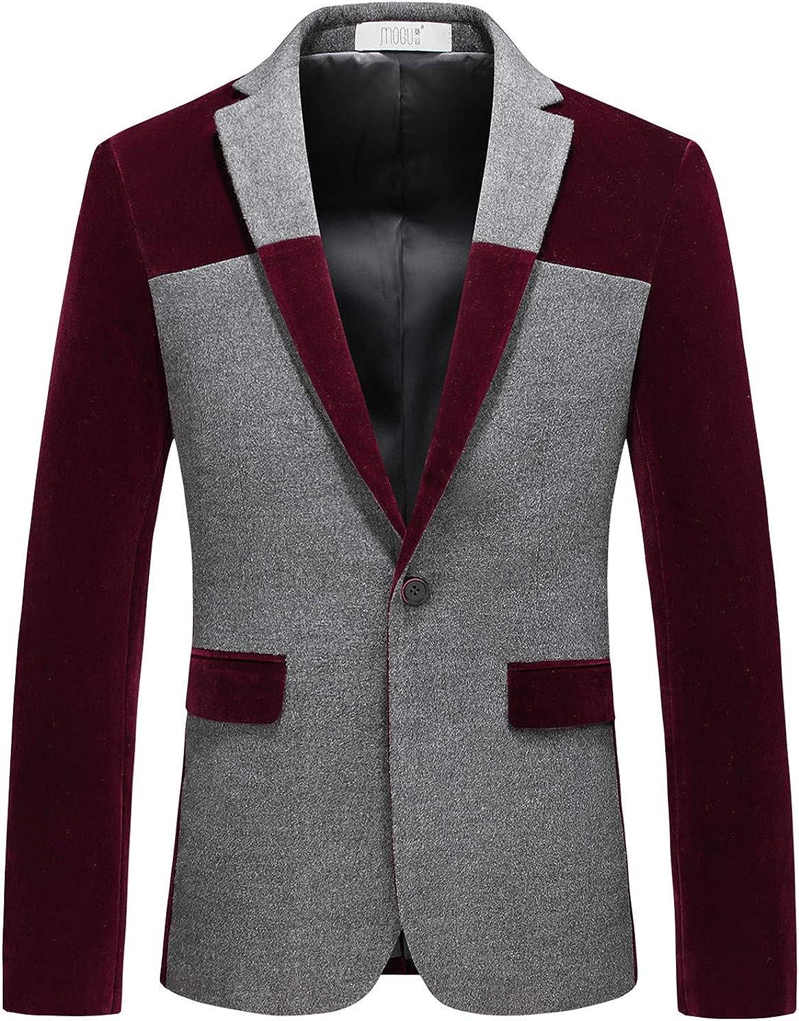 MOGU Men's 1 Button Center Vent Wool Blend Blazer Jacket