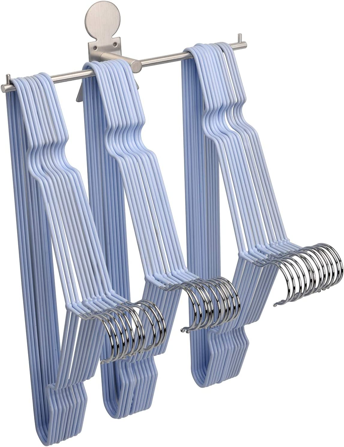 Clothes Hanger Organizer Stacker Storage Holder Rack for Closet and Laundry Room Tidier, Wall Mount, Adhesive or Drilling Installation, Stainless Steel