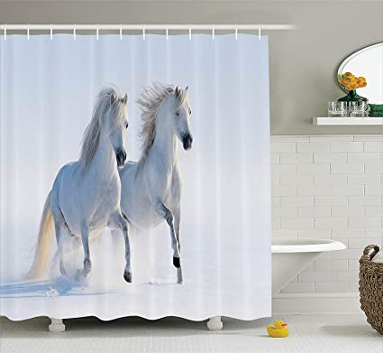 Horses Shower Curtain Set Animal Decor By Ambesonne Galloping Rare Spotted In Snow Dominant