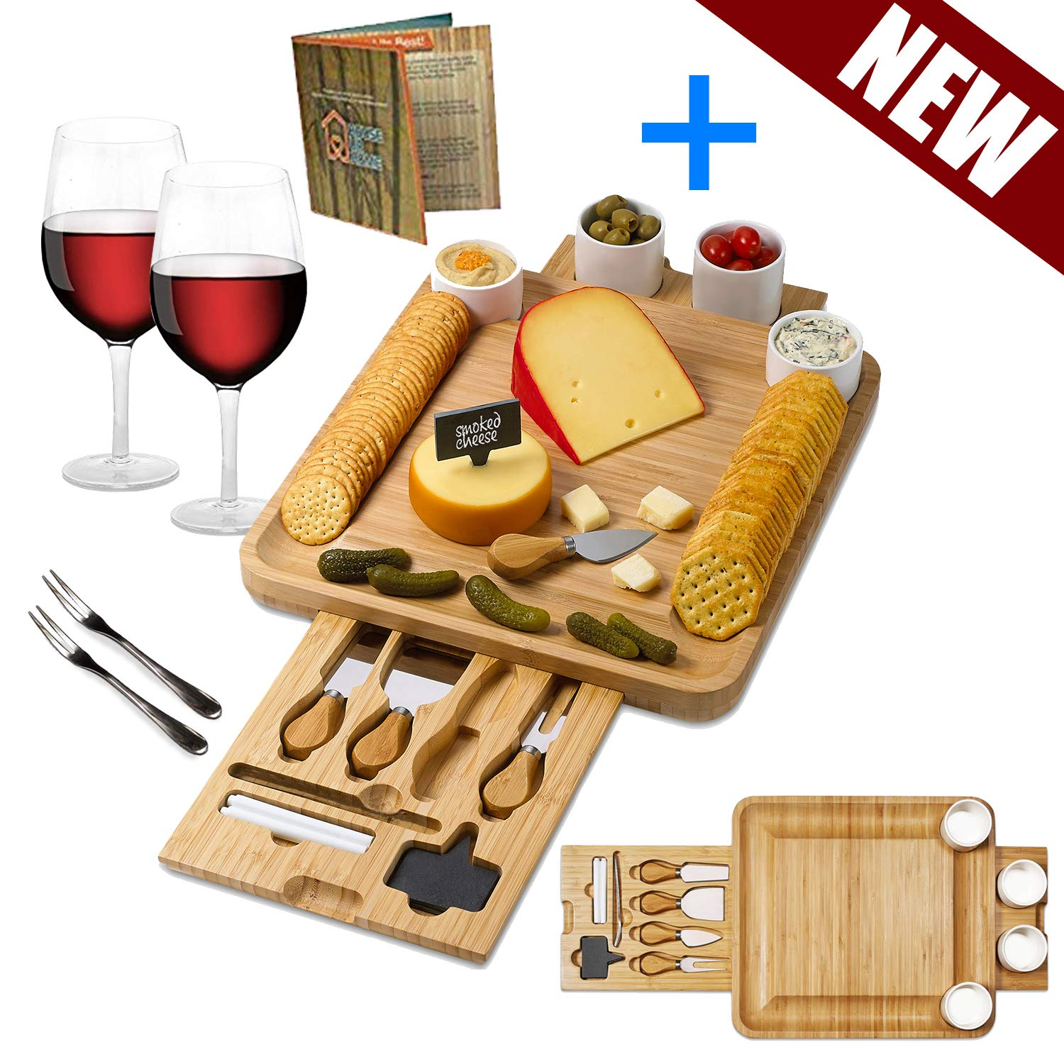 Bamboo Cheese Board Wooden 4 Ceramic Bowls. Magnetic 2 Drawers Serving Platter Cutlery Knife Set .2 Server Forks. Slate Labels and Markers Gift for Birthdays, Wedding Registry,Housewarming by HOUSE UR HOME