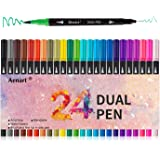Dual Tip Art Marker Pens Fine Point Journal Pens & Colored Brush Markers for Kid Adult Coloring Books Drawing Planner Calenda