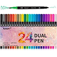 Dual Tip Art Marker Pens Fine Point Bullet Journal Pens & Colored Brush Markers for Kid Adult Coloring Books Drawing…