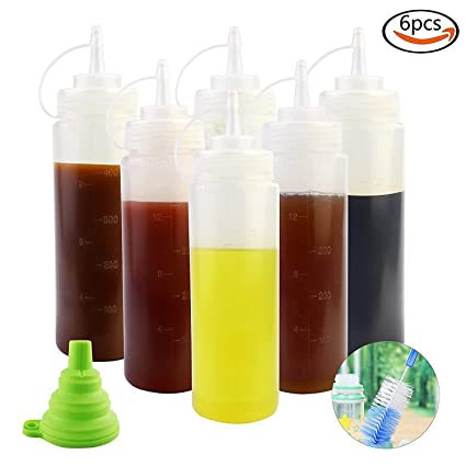Aplanet - Botella de plástico Transparente para condimentos con Embudo Plegable de Silicona y Cepillo para