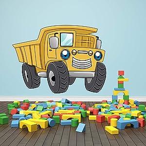 Truck Wall Decals Kids Wall Art Construction Theme Wall Sticker Yellow Dump Truck Wall Decals Boys Room Decor (24