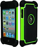 iPod Touch 4 Case, Bastex Hybrid Slim Fit Black Rubber Silicone Cover Hard Plastic Neon Green & Black Shock Case for Apple iPod Touch 4, 4th Generation