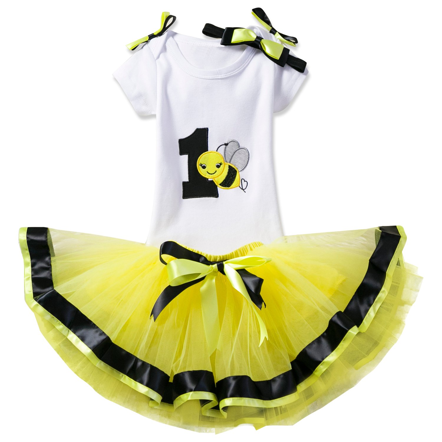 NNJXD Girl Newborn Crown Tutu 1 ° Compleanno 3 pezzi Flower Outfit Pagliaccetto + Gonna e fascia