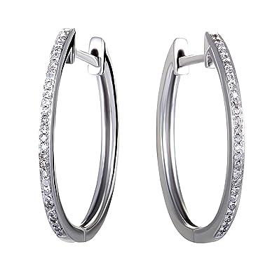 c2a63a133 14K White Gold Channel Set Diamond Hoop Huggies Earrings .10 Carat (0.10  ctw)