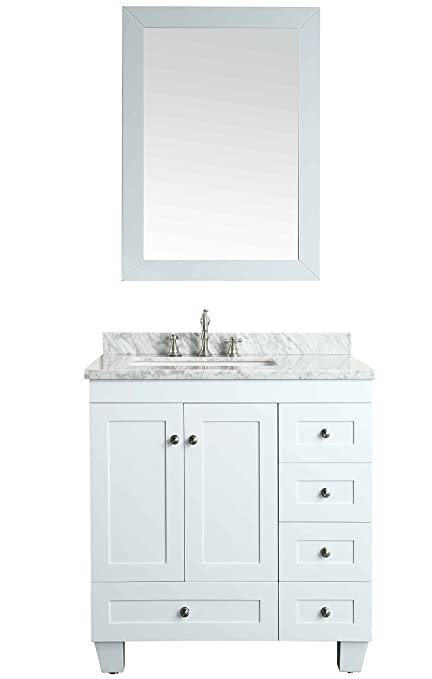 Ordinaire Eviva EVVN69 30WH Acclaim C. 30 Inch Transitional Bathroom Vanity With  Carrera Marble Counter