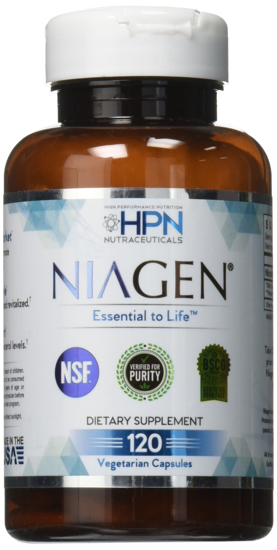 HPN Nutraceuticals Niagen Nicotinamide Riboside, Value Size, 2 Month Supply, a Trusted Chromadex Partner, NAD Plus Booster, Metabolic Repair, 250 mg per Serving, 120 Capsules