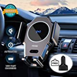 Wireless Car Charger, 10W/7.5W/5W Qi Fast Wireless Car Charger Mount, Infrared Induction Auto-Clamping Air Vent Car Wireless