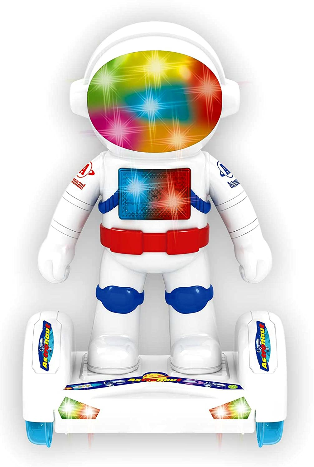 PowerTRC Astronaut Robot Toy on Hover Board with 3D Lights and Music