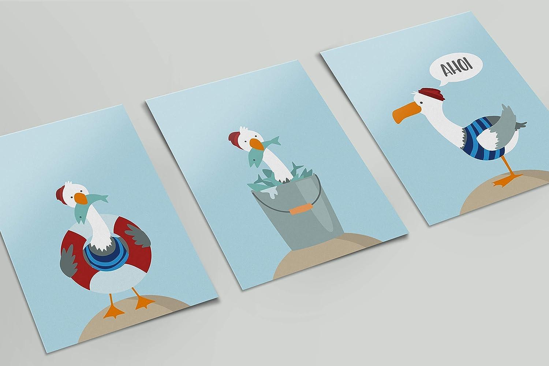 matte Oberfl/äche hochwertiger Druck Bilder maritim Kinderzimmer 300g schweres Papier optional mit Bilderrahmen 3 A4 Kinderbilder