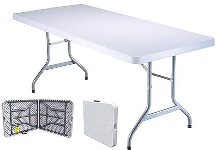 Tavolo Giardino Metallo Pieghevole.Tavolo Tavolino Pieghevole Richiudibile In Dura Resina 183x76xh72 Cm