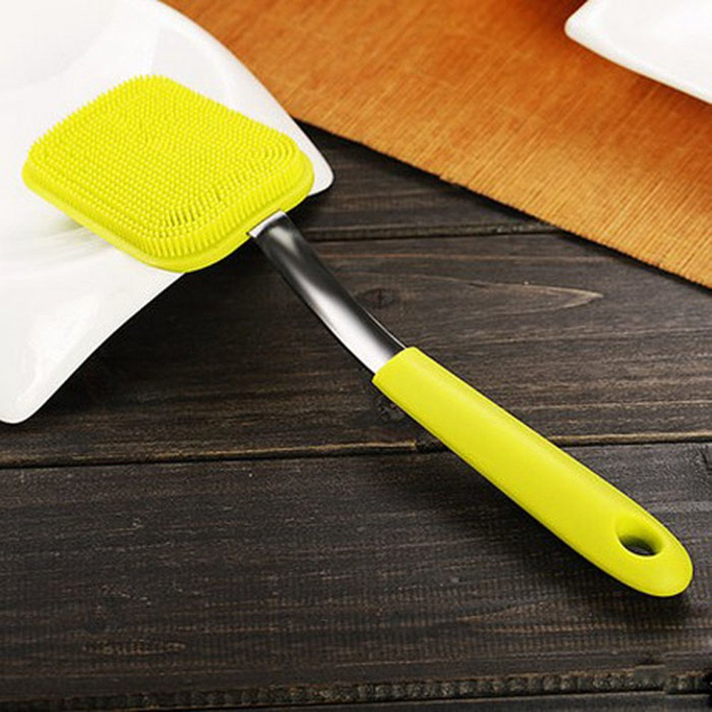 New Multipurpose Antibacterial Silicone Scrub Scrubber Sponge for Dishwashing, Make up Brush Cleaner (Sponge with Handle)