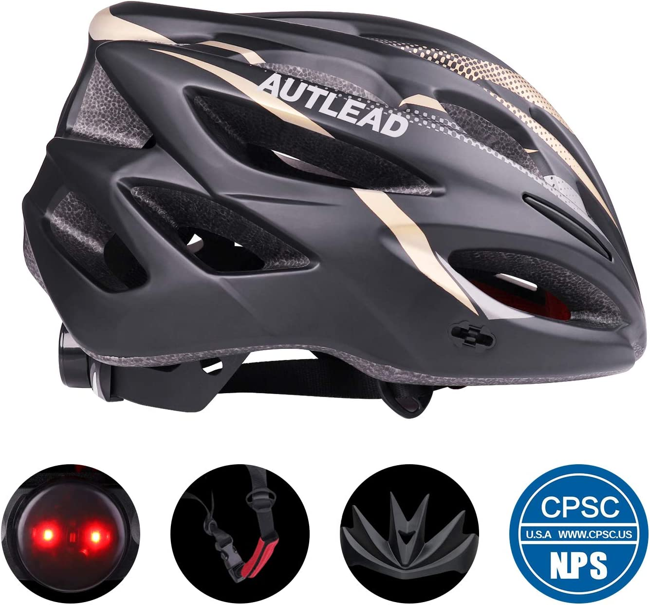 AUTLEAD Bike Helmet, Cycling Helmet with Removable Visor Flow Vents Adjustable Dial and Detachable Liner CPSC Safety Certified for Men Women 22-24inches