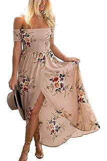 GREMMI Lungo Donna Elegante Chiffon Fiore Stampato a Vita Alta Vestito Maxi  Asimmetrico Vestito fb7c2fe3364