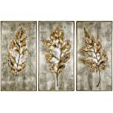 3-Pc Champagne Leaves Modern Wall Art Set