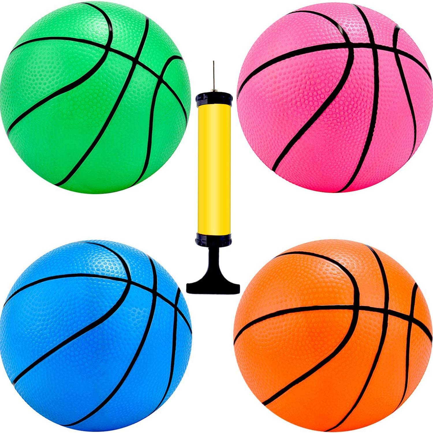 6x Sports Ball Inflatable Small Mini Hoop Basketballs With Pump 4 Inch Balls