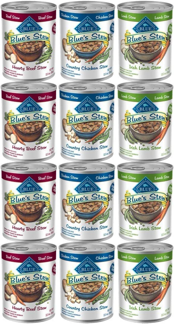 Blue Buffalo - Blues Stew 12.5 oz Canned Dog Food - Chicken, Lamb, Beef