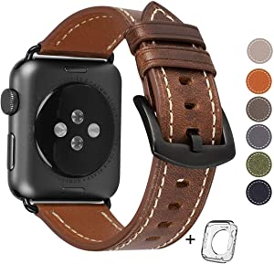 Compatible for Apple Watch Band 42mm 44mm Men,Top Grain Leather Band Replacement Strap iWatch Series 4/3/ 2/1,Sport, Edition. New Retro discoloured Leather (Brown+Black Buckle, 42mm44mm)