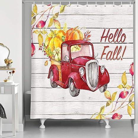 """Autumn Checkered Pumpkin Truck Shower Curtain Fresh and Simple Bath Fabric 71/"""""""