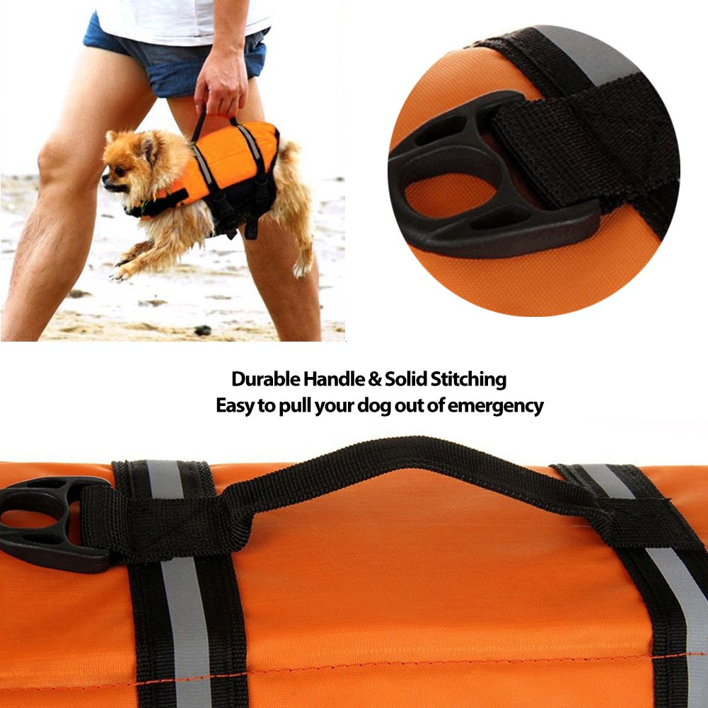 Gtpeak Dog Life Jacket Swimming Vest Saver with professional Flotation Device Reflective Stripe Adjustable Elastic Band Easy Grabbing Different Sizes by Gtpeak (Image #2)