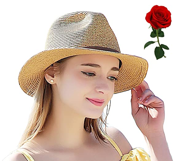 29a6586e0f5 Summer Straw Fedora Hat for Women Classic Havana Hat Cute Beach Panama  Round Brim Sun Hats