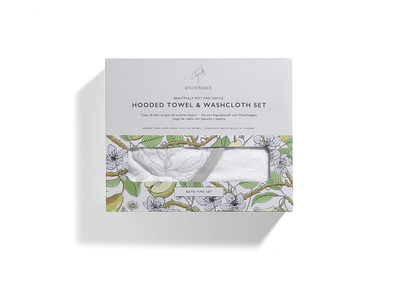 Amazon.com: Storksak Hooded Towel and Washcloth Set, Garden Print, One Size: Baby
