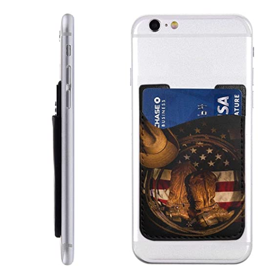 fc144563291 Amazon.com: Cowboy Boots Hat and American Flag Phone Card Holder ...