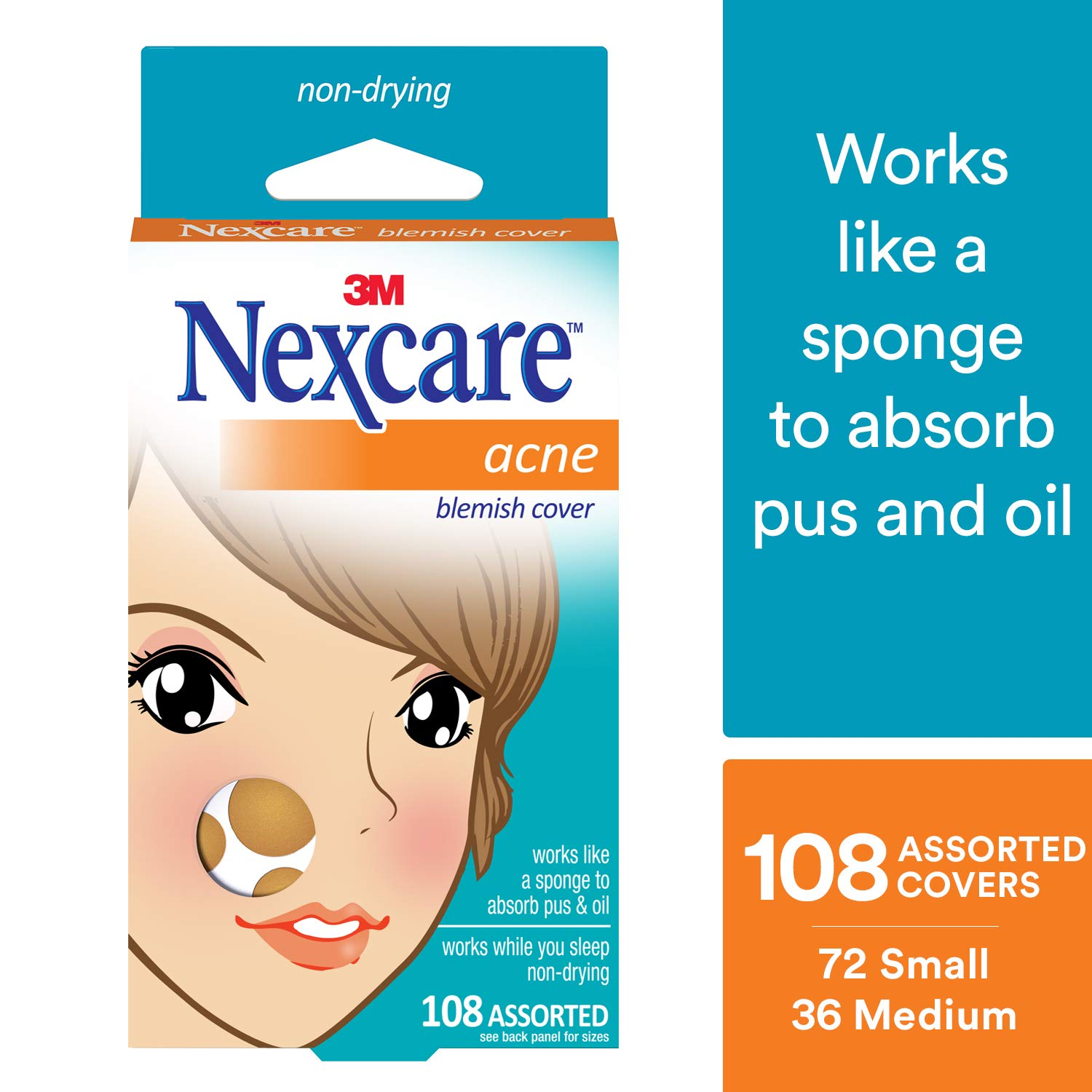 Nexcare Acne Cover, Gentle, Invisible, 108 count by Nexcare