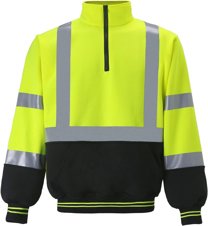 Mens Hi Viz High Visibility Hoodie Sweatshirt Jumper Work Vis Zip M L XL 2XL 3XL