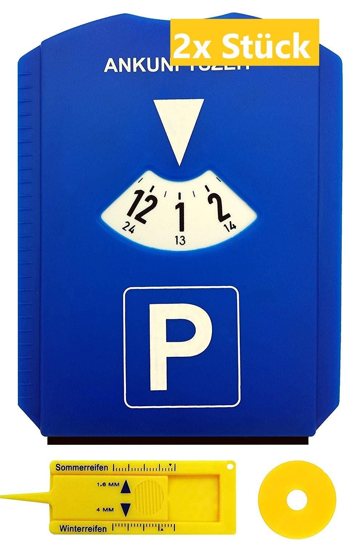Gibtplus 2 Pezzi Disco orario Orologio parcheggio con Profilo di profondit/à dei Pneumatici Raschietto per Ghiaccio e gettone per Carrello della Spesa plastica Blu per Auto