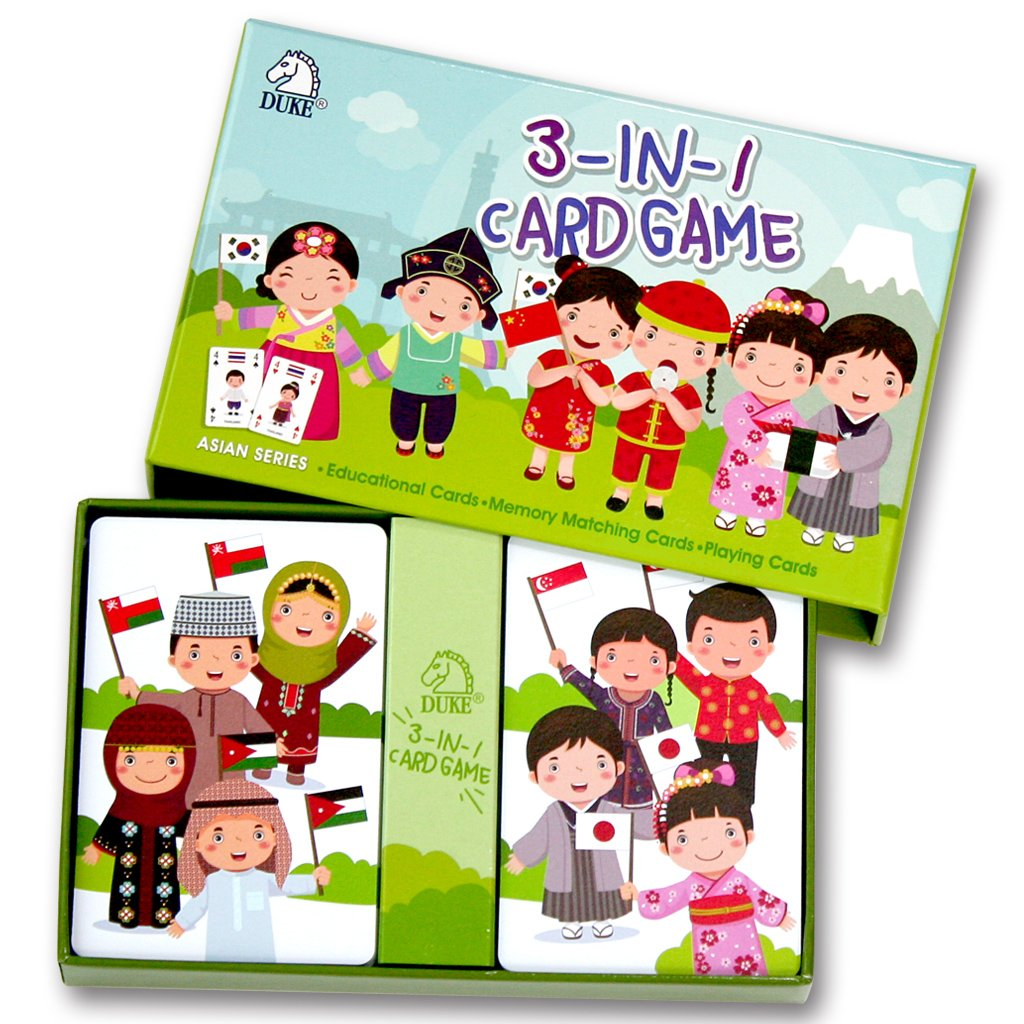 Children's Card Game Set - Memory Matching Game, Educational Game, Playing Cards 3 in 1 Card Game Set (Asian Series)