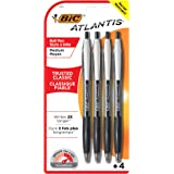 BIC Atlantis Original Retractable Ballpoint Pen Medium Point (1.0 mm) - Black, Pack of 4 Pens