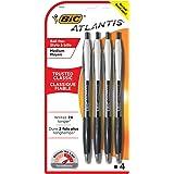 BIC VCGP41-Blk Atlantis Original Retractable Ballpoint Pen Medium Point (1.0 mm)- Black, Pack of 4 Pens