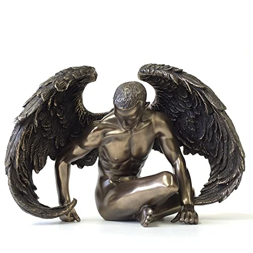 Winged Male Nude Angel Sitting Statue Sculpture